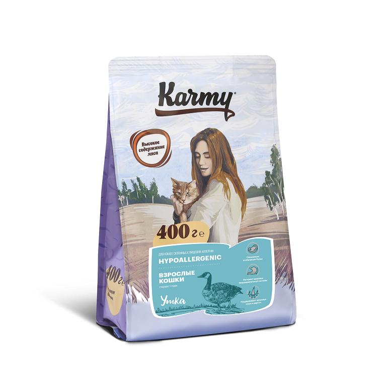 KARMY HYPPOALLERGENIC корм для взрослых кошек старше 1 года, склонных к пищевой аллергии (Утка)