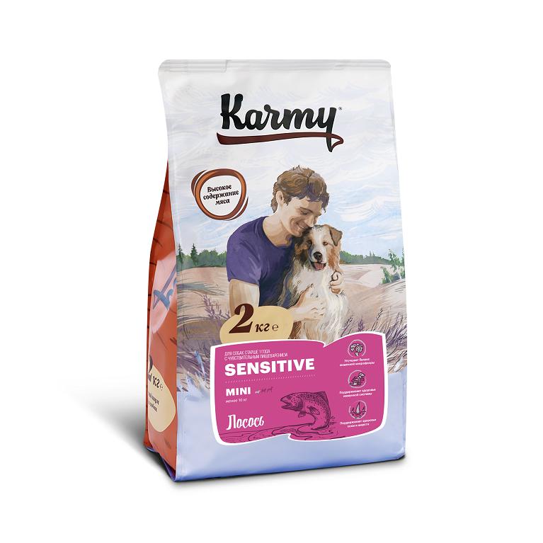 KARMY SENSITIVE MINI корм для собак мелких пород в возрасте старше 1 года с чувствительным пищеварением (Лосось)