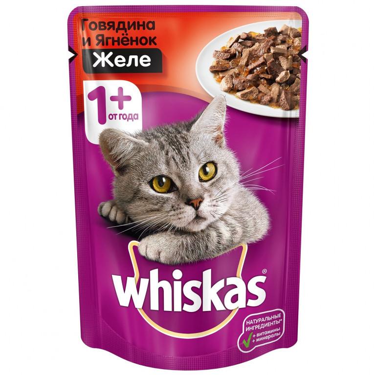 Whiskas пауч для кошек (Желе с Говядиной и Ягненком) 85г, 5 шт