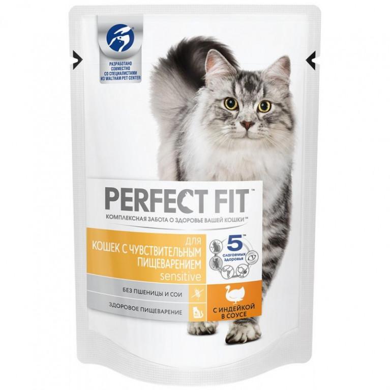 Perfect Fit Sensitive Влажный корм для чувствительных кошек с индейкой в соусе 85г