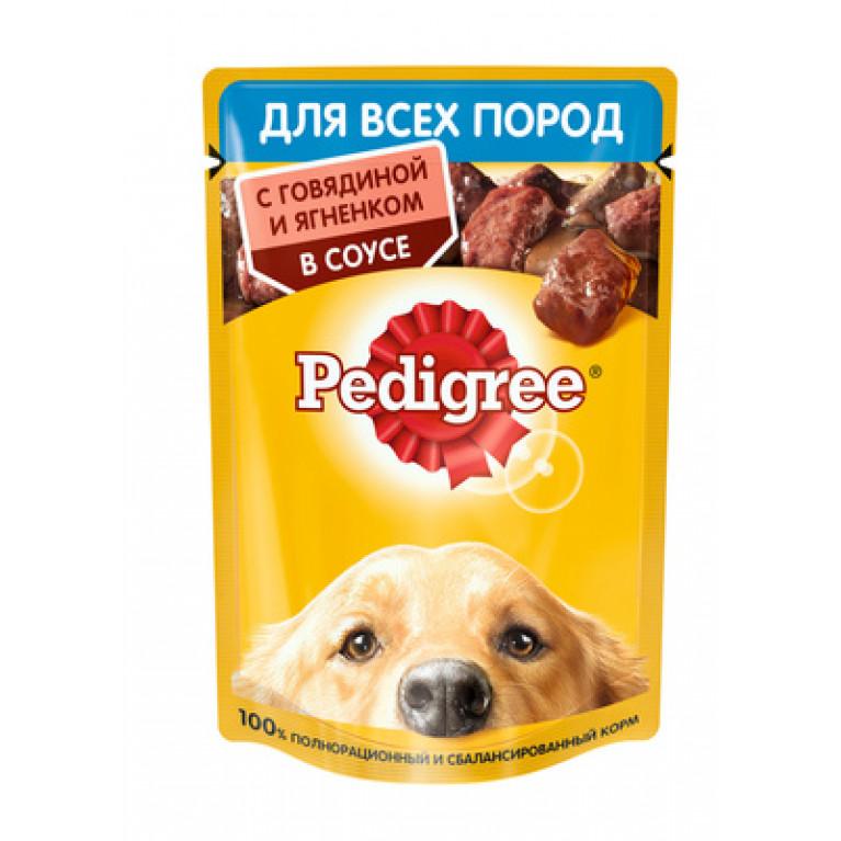 Pedigree Пауч для взрослых собак всех пород с говядиной и ягненком в соусе 85г,  5 шт