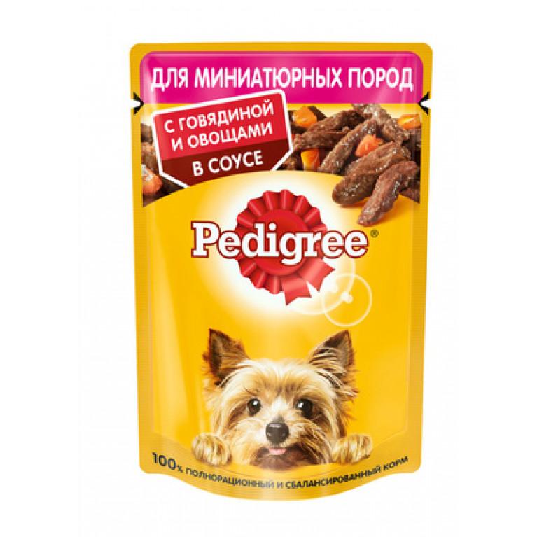 Pedigree Пауч для взрослых собак маленьких пород c говядиной в соусе 80г, 5 шт