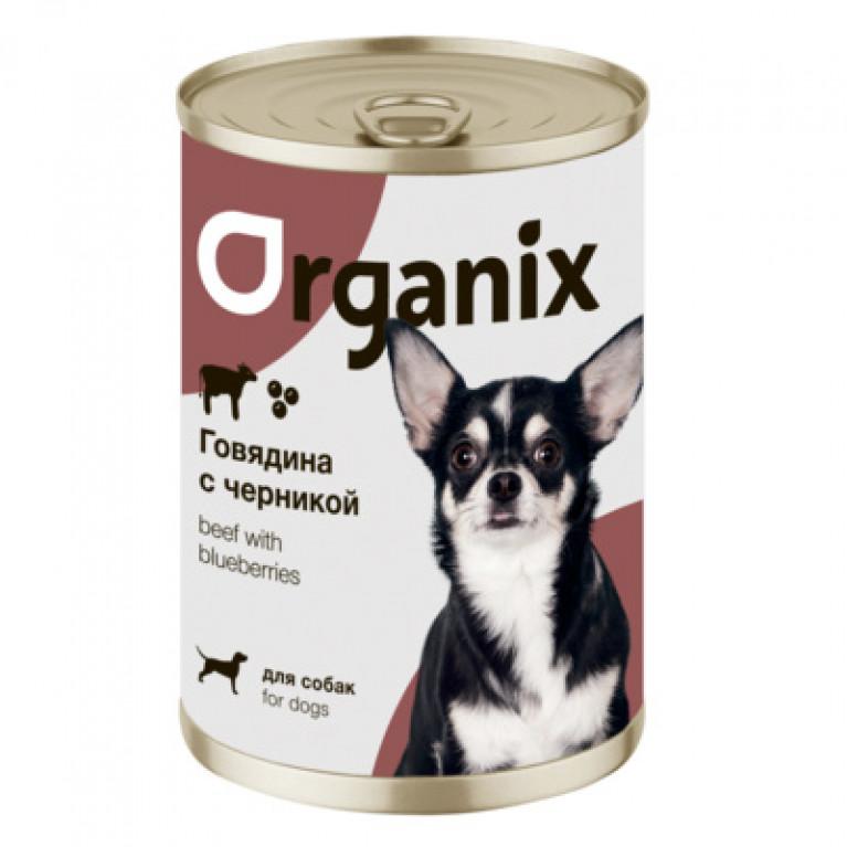 Organix Консервы для собак Заливное из говядины с черникой
