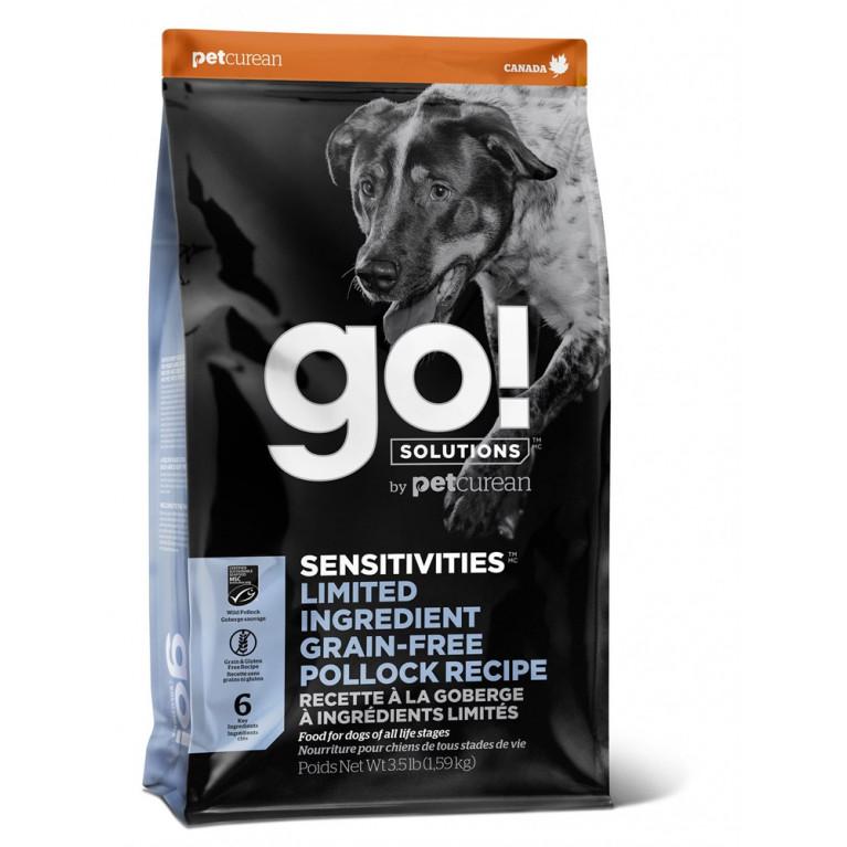 GO! SENSITIVITY + SHINE LID Pollock Dog Recipe, Grain Free, Potato Free «Чувствительность+Блеск» Беззерновой гипоаллергенный корм для щенков и собак с минтаем