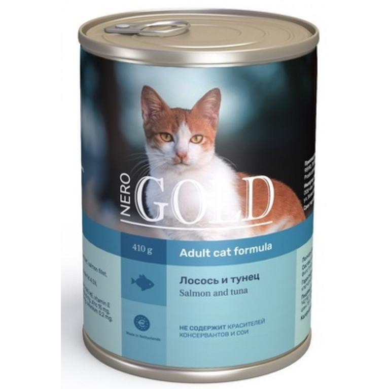 """Nero Gold консервы для кошек """"Лосось и тунец"""" 410гр"""