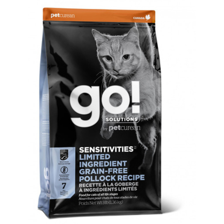 GO! NATURAL Holistic Sensitivity + Shine Grain Free Pollock Cat Recipe беззерновой для котят и кошек с чувствительным пищеварением, с минтаем