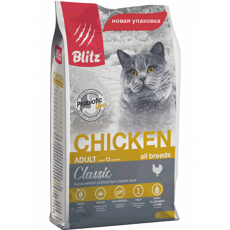 Blitz Adult Cats Chicken Сухой корм для взрослых кошек (курица)