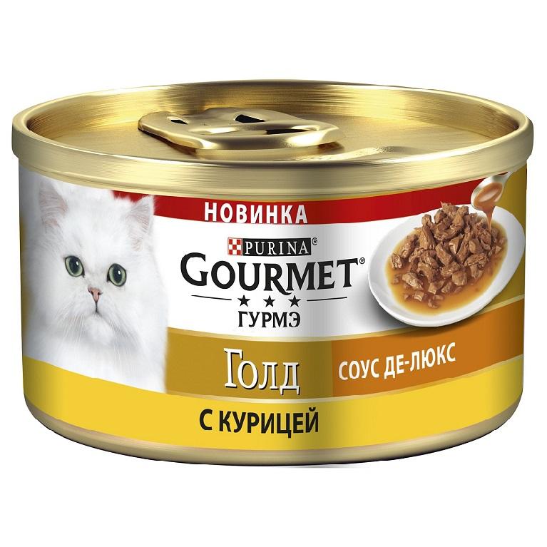 Gourmet Gold Консервы для кошек Соус Де-Люкс с курицей в роскошном соусе