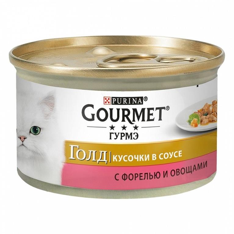 Gourmet Gold Консервы для взрослых кошек кусочки в соусе с форелью и овощами 85 г