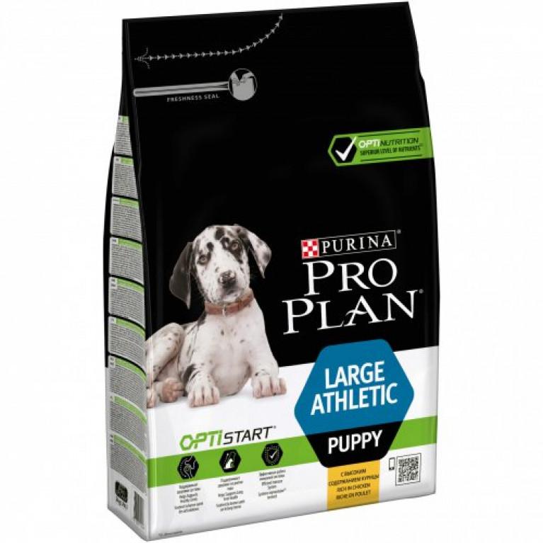 PRO PLAN Large Puppy Athletic для щенков крупных пород с атлетическим телосложением с курицей и рисом.