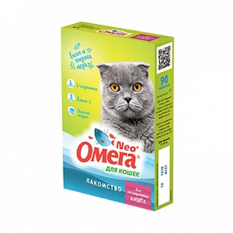 Омега Neo+ Лакомство кастрированных для кошек с протеином и L-карнитином 90 таб.