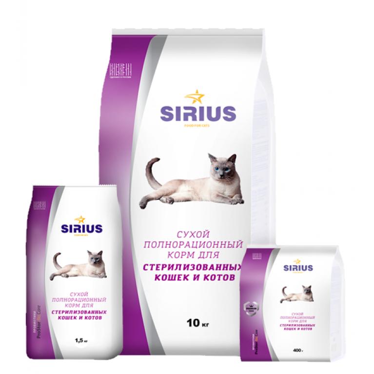 Sirius Сухой корм для стерилизованных кошек и кастрированных котов (птица)