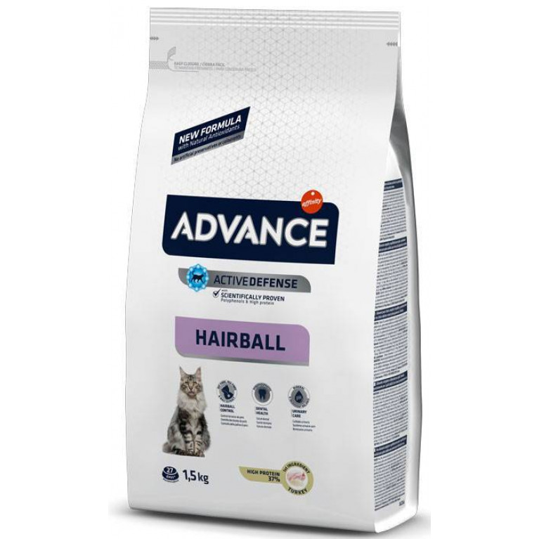 РАСПРОДАЖА  Advance Hairball для вывода шерсти у кошек: индейка и рис