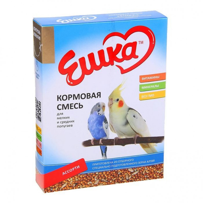"""""""Ешка"""" Кормовая смесь для мелких и средних попугаев, Ассорти, 500 г"""
