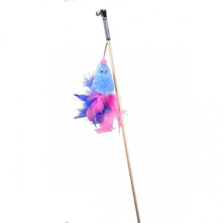 """GoSi Игрушка для кошек Махалка """"Мышь с мятой голубой мех с хвостом перо на веревке"""""""