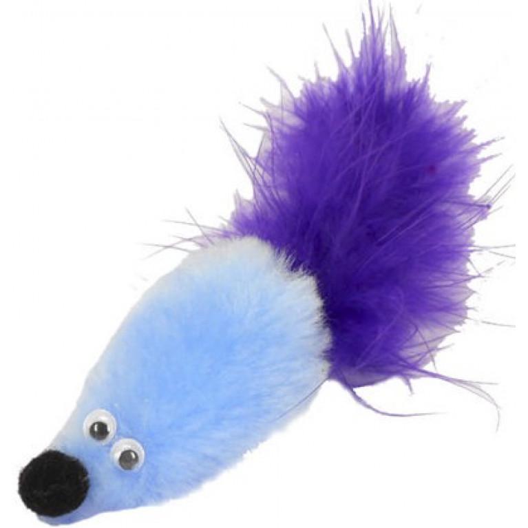 """GoSi Игрушка для кошек """"Мышь с мятой голубой мех с хвостом перо"""""""