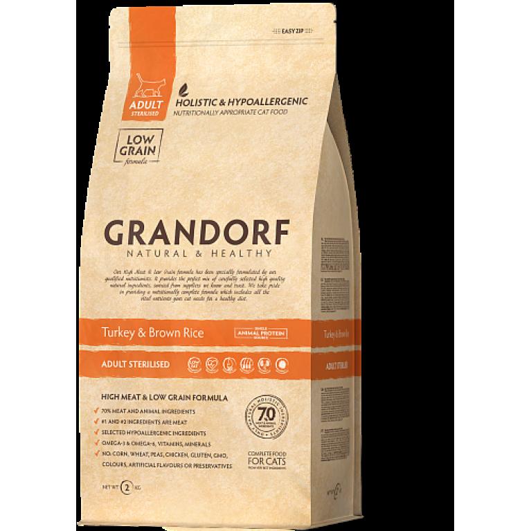 Grandorf Turkey&Rice Adult Sterilized Сухой корм для стерилизованных кошек, индейка и рис.