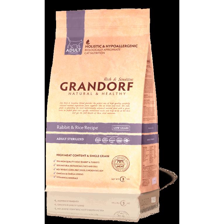 Grandorf Rabbit & Rice Adult Sterilized/для взрослых стерилизованных котов и кошек (кролик с рисом)