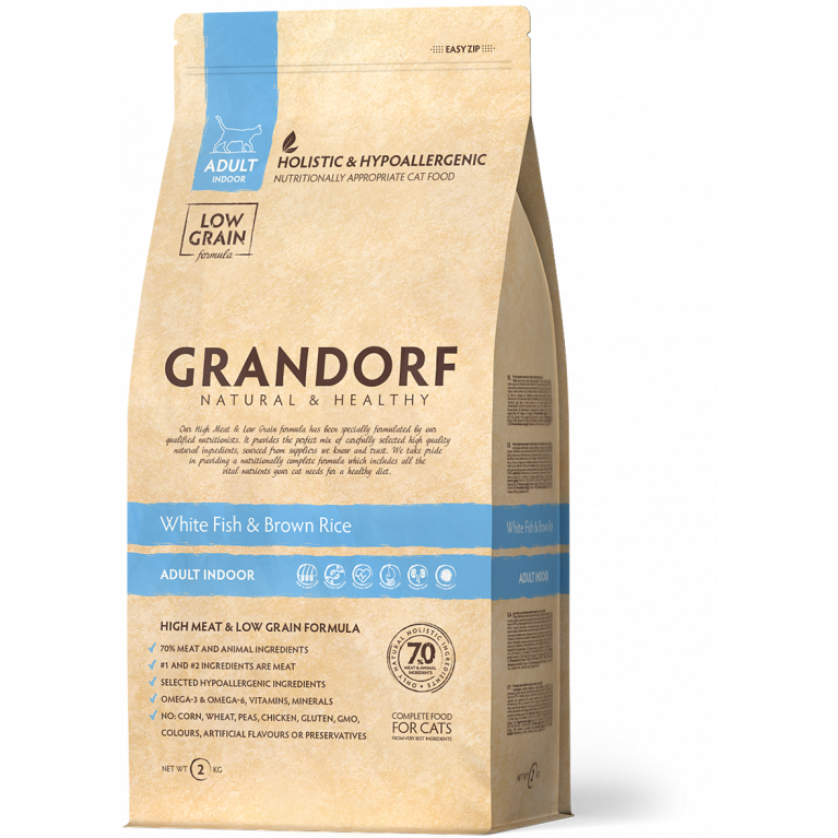 Grandorf Fish&Brown Rice INDOOR /Для домашних кошек (белая рыба с бурым рисом)