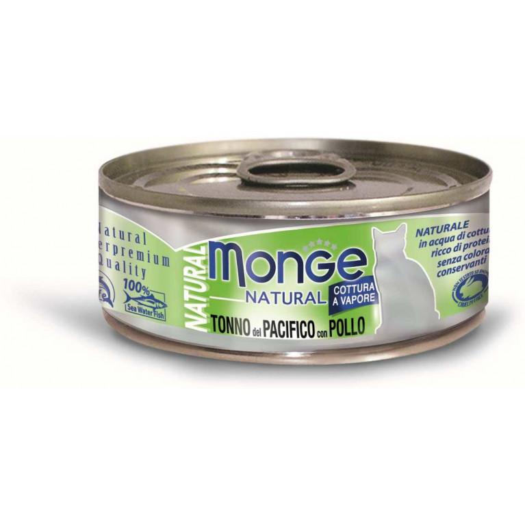 Monge Cat Natural консервы для кошек тихоокеанский тунец с курицей 80 гр