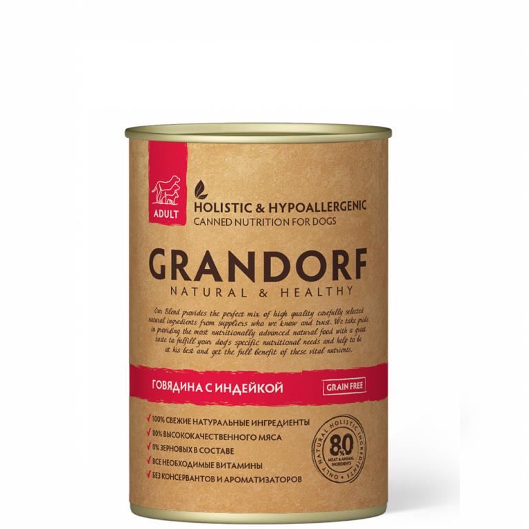 """Grandorf  BeefTurkey Консерва для собак """"Говядиной с индейкой"""" 400 гр"""
