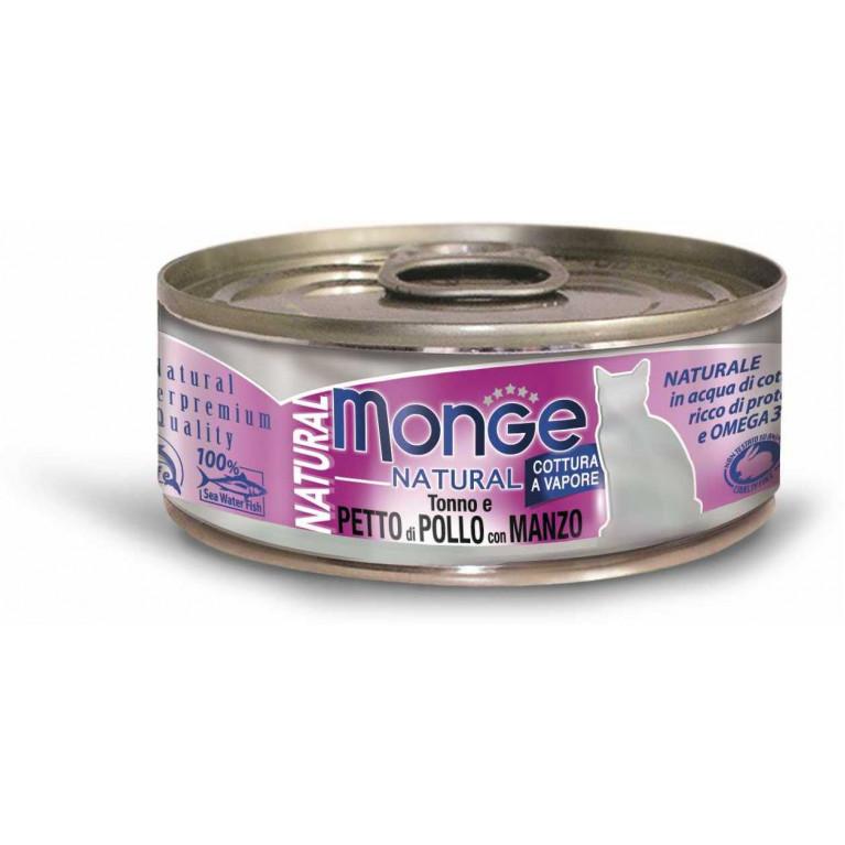 Monge Cat Natural консервы для кошек (с тунцом, курицей и говядиной) 80 гр