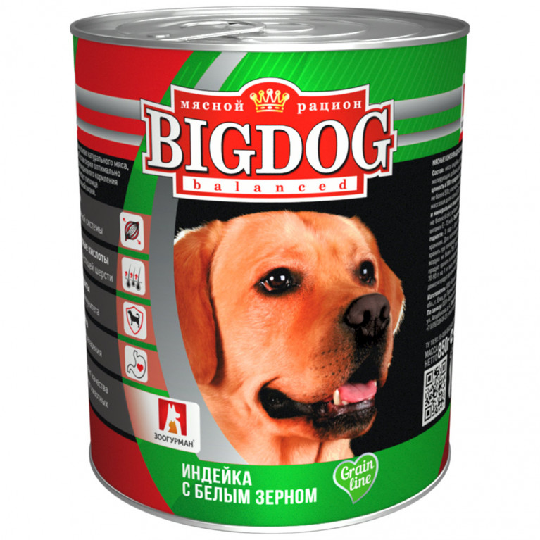 Big Dog Консервы для собак Индейка с белым зерном 850 гр