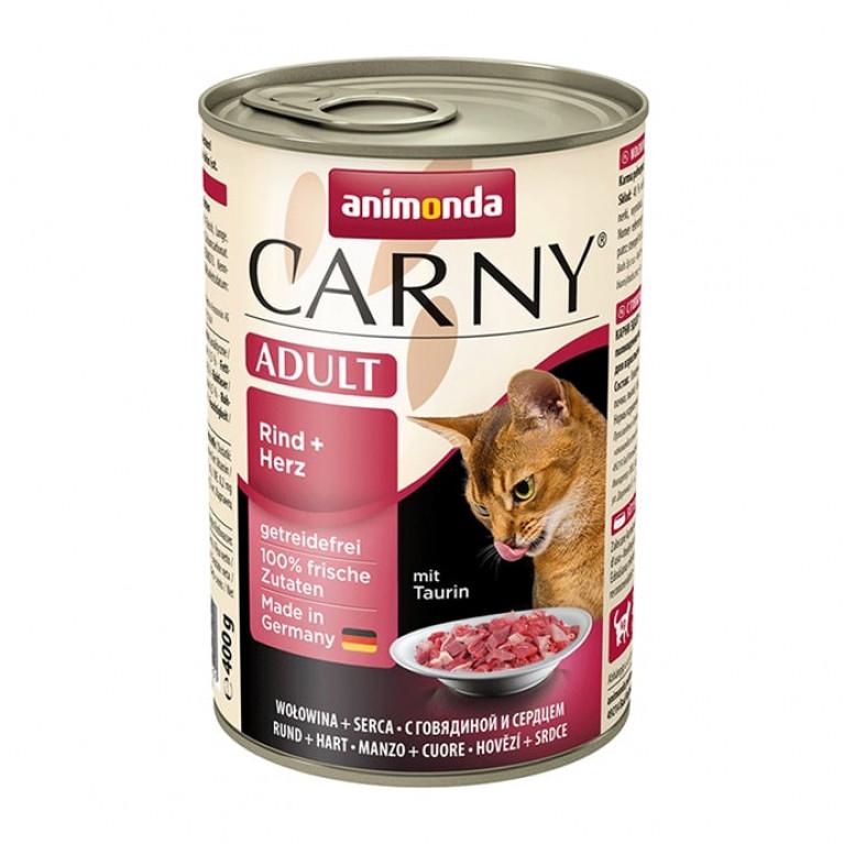 Animonda Carny Adult консервы для кошек с говядиной и сердцем 400г